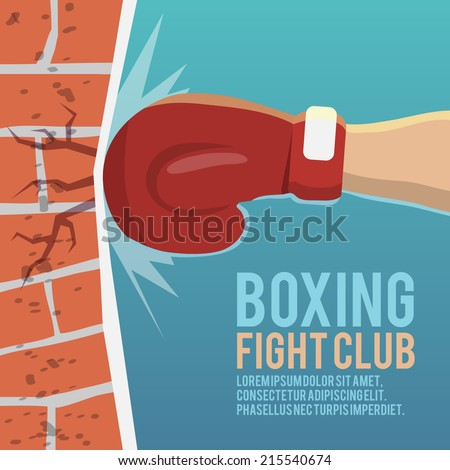 Boxer gloves hitting brick wall cartoon boxing fight club poster vector illustration - stock vector