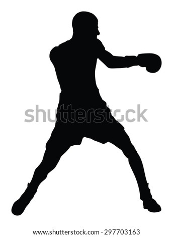 Boxer in ring vector silhouette illustration isolated on white background.