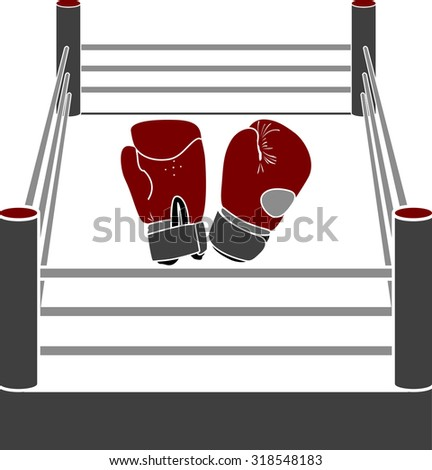 boxer ring with gloves. stencil