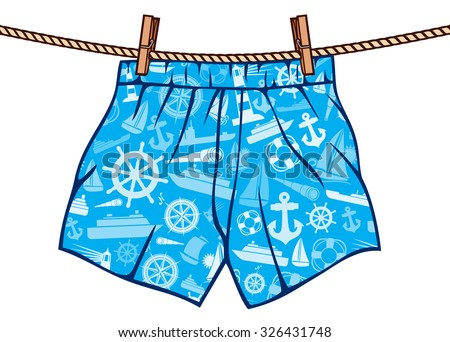 boxer shorts hanging on rope (man underwear on clothesline) - stock vector
