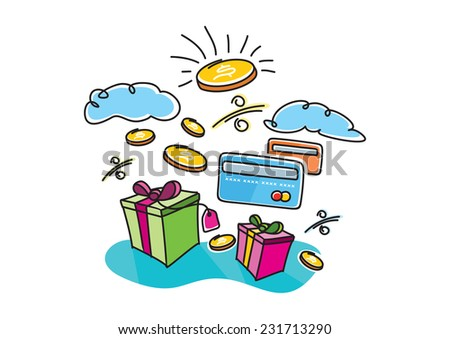 Boxes gifts shopping interest payment cards and coins with image of dollar cartoon design style. Internet shopping concept - stock vector