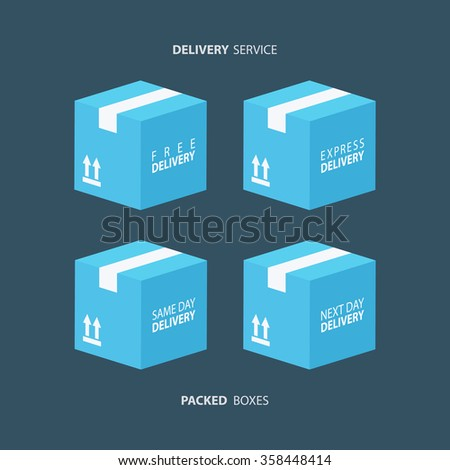 Boxes icons set. Packed boxes. Carton package box icons. Free delivery, express delivery, same day delivery, next day delivery. Vector illustration. - stock vector