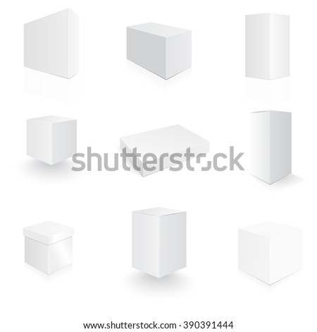 Boxes in 3d for your design. Big set of different realistic boxes. Tall box, flat box. - stock vector