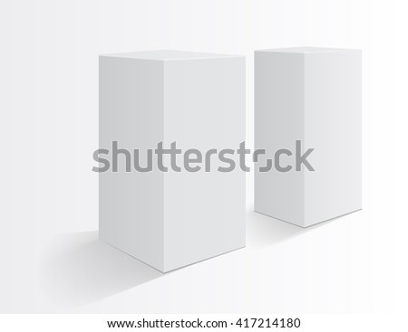Boxes on a white background. Realistic mockup. Tall box. Realistic objects ready for your design. Vector illustration, eps 10