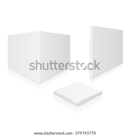 Boxes on a white background. Set of different white boxes in perspective. Vector illustration, eps 10 - stock vector