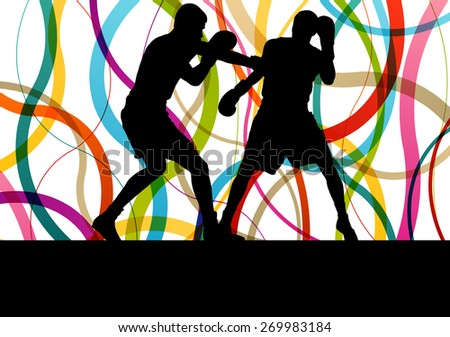 Boxing active young men box sport silhouettes abstract background illustration vector concept - stock vector