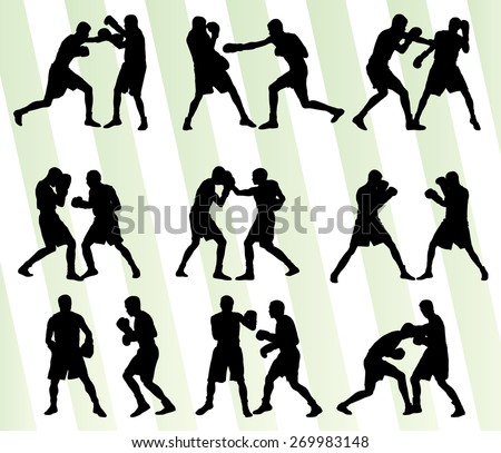 Boxing active young men box sport silhouettes set background illustration vector