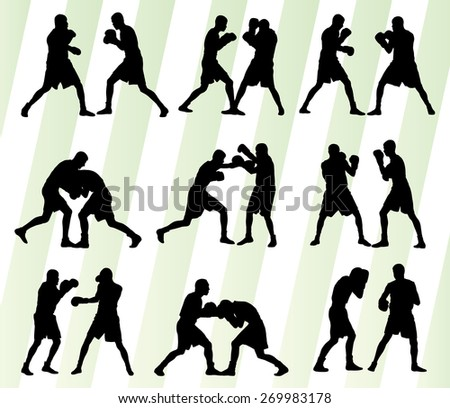 Boxing active young men box sport silhouettes set background illustration vector - stock vector