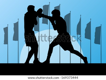 Boxing active young men box sport silhouettes vector abstract background illustration landscape with flags - stock vector