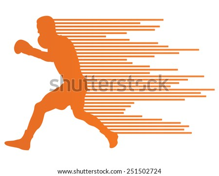 Boxing active young men sport silhouettes abstract background illustration vector concept made of stripes - stock vector