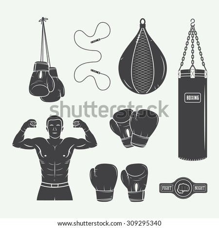 Boxing and martial arts logo badges, labels and design elements in vintage style. Vector illustration - stock vector
