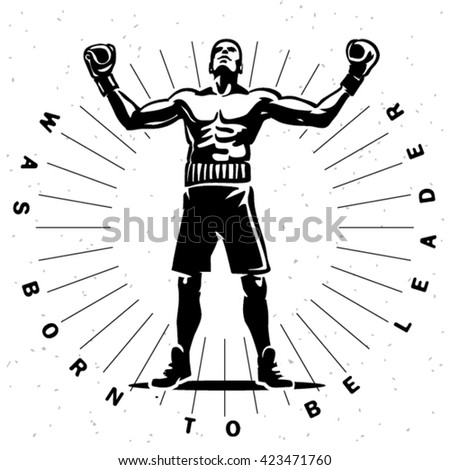 Boxing champion.  Sport illustration. Engraving style - stock vector