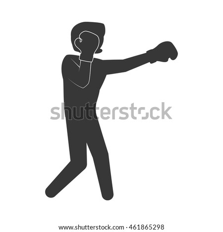 Boxing concept represented by boxer silhouette icon. Isolated and flat illustration
