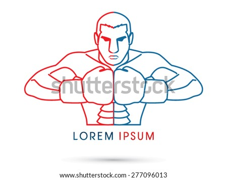 Boxing, Fighter, ready to fight,  red and blue line graphic vector.