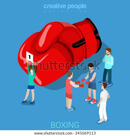Boxing flat 3d isometry isometric sports concept web vector illustration. Boxing punch glove woman round sign boxer fighters referee coach. Creative people collection.
