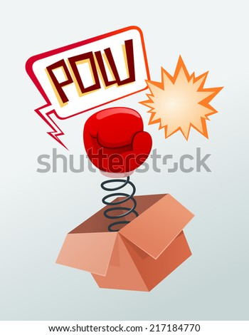 boxing glove out of the surprise box - stock vector