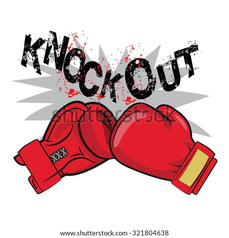 """Boxing Gloves And Text """"Knock Out"""" Vector Illustration. Boxing Emblem, Label, Badge, T-Shirt Design, Boxing Fight Theme. Boxing Gloves For Man.  Red Boxing Gloves Drawing.  - stock vector"""