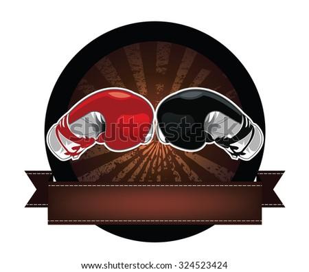 Boxing Gloves banner - stock vector