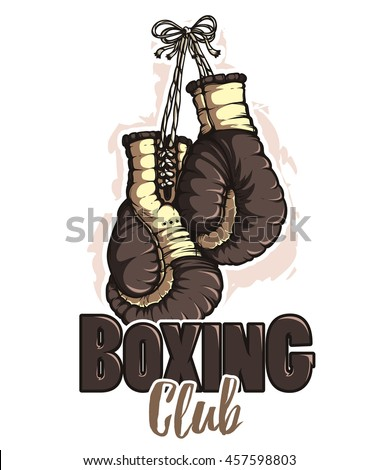 Boxing gloves. Black color. Emblem
