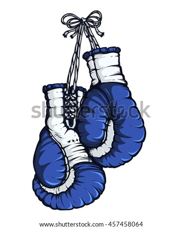 Boxing gloves. Blue color. Isolated