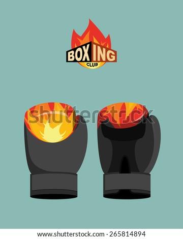 Boxing gloves  fire. Vector illustration - stock vector