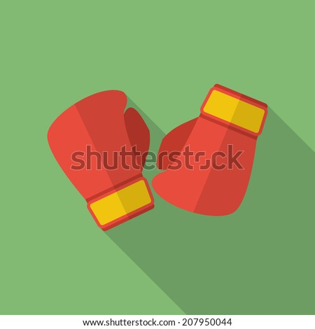 Boxing gloves icon. Modern Flat style with a long shadow - stock vector