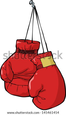 Boxing gloves on a nail vector illustration - stock vector