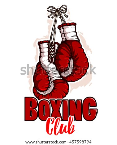Boxing gloves. Red color. Emblem
