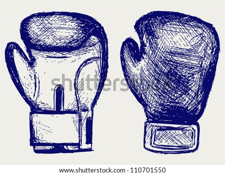 Boxing gloves. Sketch - stock vector