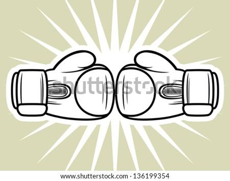 boxing gloves strike - stock vector