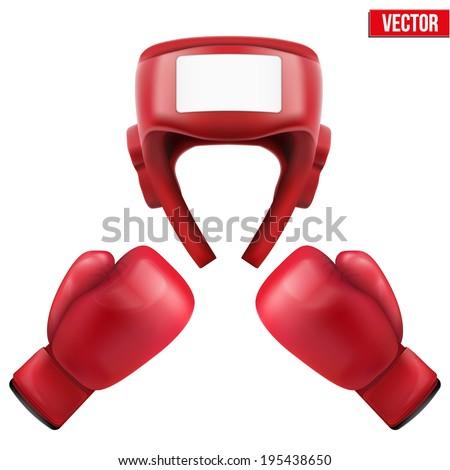 Boxing helmet and gloves. Sport goods, defense and equipment. Vector Illustration. - stock vector