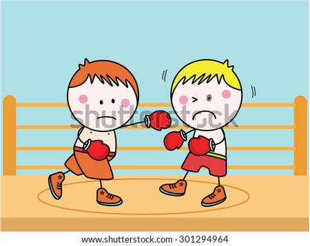 Boxing kids - stock vector