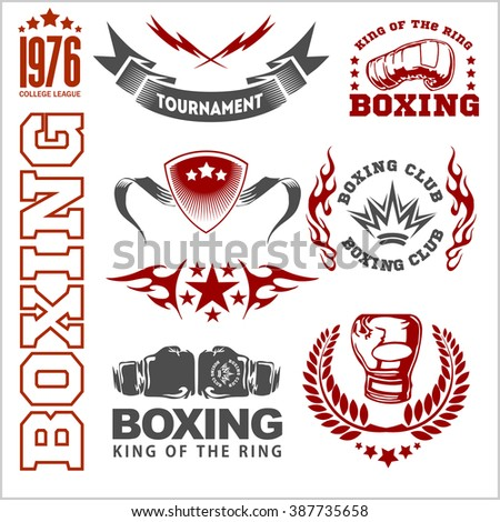 Boxing labels and icons set on white background.