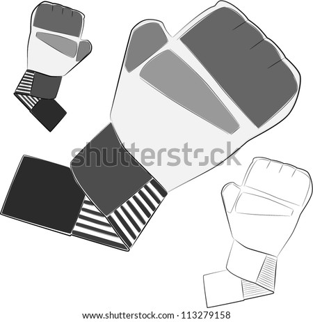 Boxing, MMA gloves. Vector illustration. - stock vector