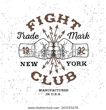 "boxing monochrome vector label , badge , logo  "" Fight Club "" for hipster  flyer, poster or t-shirt print with fist, lightning and text - stock vector"