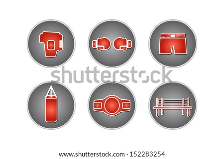 Boxing or Muay icons set - Vector illustration - stock vector