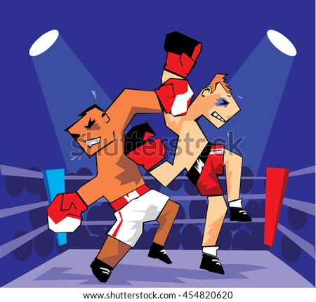Boxing Players. Abstract Vector Illustration - stock vector
