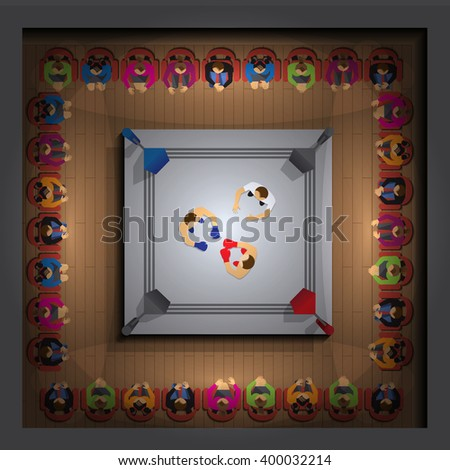 Boxing ring. View from above. Vector illustration. Applique with realistic shadows. - stock vector