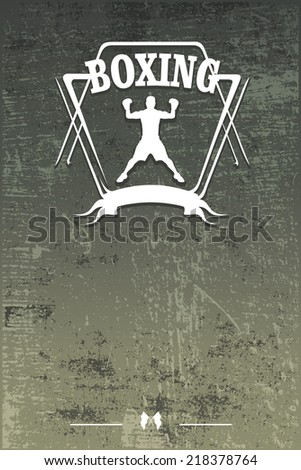 boxing shield with grunge banner - stock vector