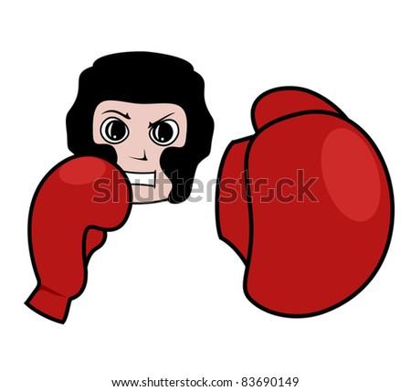 Boxing training - stock vector