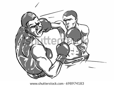 boxing two boxers fighting blow to the head black and white vector sketch