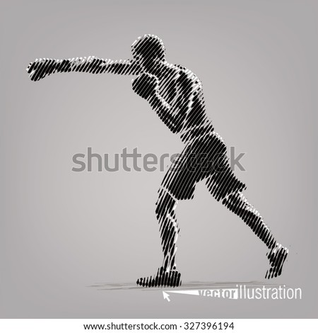 Boxing. Vector artwork in the style of ink drawing - stock vector