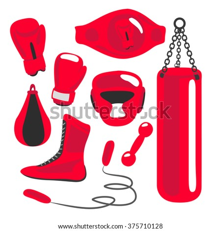 Boxing vector design elements. Fighting and boxing equipment. Boxing gloves vector illustration. Boxing gym icons. punching bag - stock vector