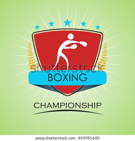Boxing - Winner Golden Laurel Seal with Golden Ribbon - Layered EPS 10 Vector - stock vector