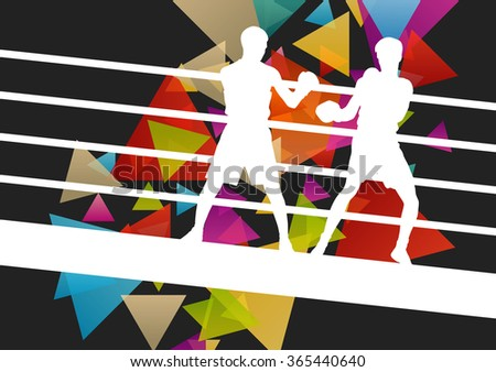 Boxing young and active men in abstract vector sport concept background illustration