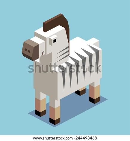 boxy zebra. 3d pixelate isometric vector - stock vector