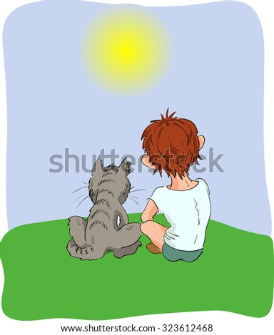 boy and cat look in the sunshine
