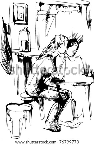 boy and girl at the table in the kitchen
