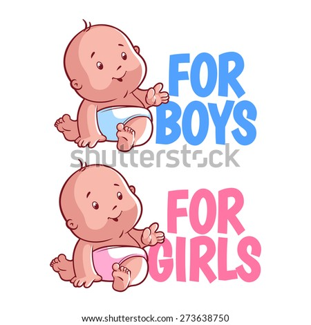 Boy and girl baby logo. Isolated on a white background. - stock vector