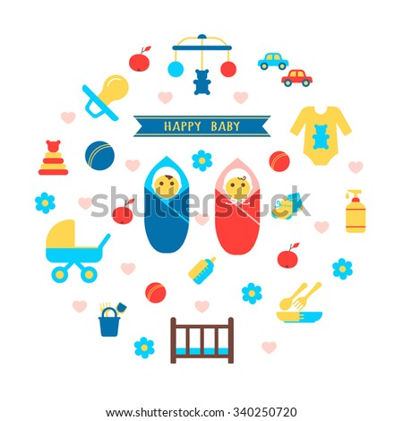 Boy and girl baby set with products for newborns flat isolated vector illustration - stock vector